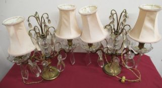 Pair of 20th C continental gilt metal two branch table lamps, hung with faceted drops H34cm (2)