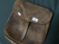 Late 19th C leather saddle bag