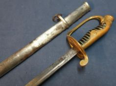 Circa 1940's Japanese military officers sword with 28 1/2 inch slightly curved single fullered