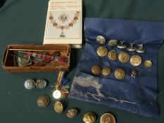 Collection of military buttons and badges, set of five civil defence badges etc, observer book of