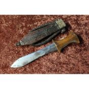 North African arm dagger with 5 1/2 inch swollen blade, wooden grip and leather sheath with