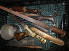 Collection of tribal knives, tri form socket bayonet, Lee Enfield frog, piece of trench art and