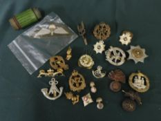 Collection of metal military cap badges, lapel badges including the submariners dolphins, RAF cap
