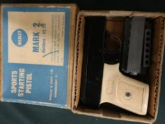 Webley MKII sports starting pistol and .32/22 boxed with magazines and ephemera (restrictions apply)