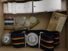 Collection of military items including Defence medal, WWII medal box, no.1 dress belt dated 2006,