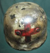 German para medic steel helmet, the inside with painted detail K. Steiner with modern liner and chin