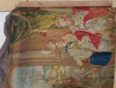"19C wool work tapestry panel depicting ""King's Pardon of Galileo"" 78cm x 97cm"