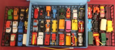Matchbox vehicle carry case with four lift out trays contain Matchbox and other small scale die cast