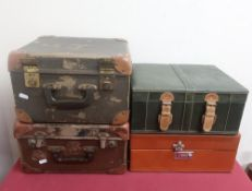 Green leather three bottle travelling wine box, another two bottle travelling wine box, hat box