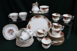 """Royal Albert """"Old Country Roses"""" part tea service and a part tea service with floral decoration"""