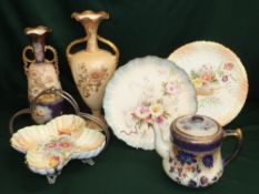 Collection of Carlton Ware including two plates stamped RN258145 and RN68730, a bonbon dish
