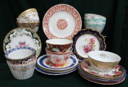Large collection of assorted china dinner plates and bowls including Royal Worcester and Foley China