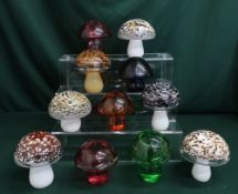 Wedgwood glass mushrooms in various colours and designs, H10cm (11)
