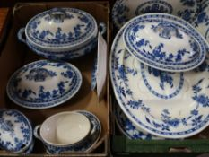 Collection of Minton Delft pattern dinnerware, incl. large meat platter, tureen, three smaller