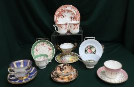 Collection of assorted teacups and saucers by Davenport, Paragon and Royal Crown Derby (10 x