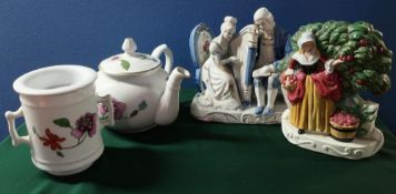 Pair of Masons Staffordshire flatback style figures, pair of continental models of courting couples,