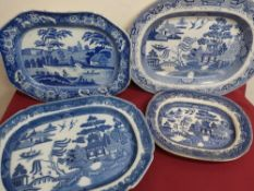 Victorian rectangular meat plate, blue & white transfer printed with figures boating in a landscape,