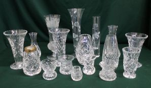 Edinburgh and other Crystal cut and etched small glass vases (17)