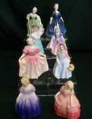 Royal Doulton small ladies; Wendy, Marie, Rose, Bunny, Dinky-Do, Sweeting, Debbie and Fair Maiden,