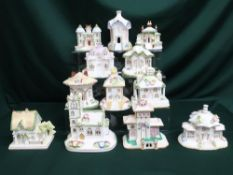 """Collection of Coalport houses including """"The Parasol House,"""" """"Thatched Cottage,"""" """"The Gatehouse,"""" """""""