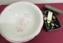Victorian style vintage toilet bowl, and a collection of buttons, etc