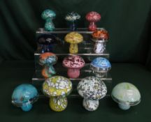 Glass mushroom in various colours, sizes and design by Langham glass, M'dina and Laugharne glass and