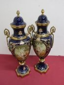 Pair of Serves style gilt metal mounted urn shaped vases and covers, bodies decorated with lovers in