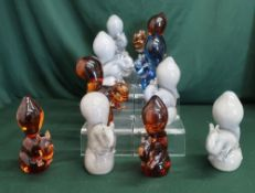 Collection of various Wedgwood glass squirrels, H13 cm (10)
