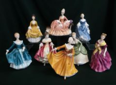 Royal Doulton ladies: Hilary, Soiree, Southern Belle, Reverie, Adrienne, Janine, Kirsty and Coralie,