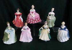 Royal Doulton ladies; Victoria, Wonsome, Clarissa, Alison, Hostess of Williamsburg, Premiere and