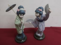 Lladro porcelain figure No 4991 Madame Butterfly and Lladro figure No 4988 Oriental Spring H30cm (