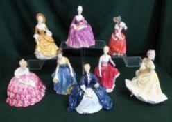 Royal Doulton ladies; Melanie, Charlotte, Victoria, Ninette, Fiona, Laurianne, Sandra and