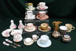 Collection of miniature teacups & saucers including Coalport and Royal Adderley, and a miniature