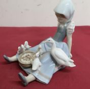 Lladro porcelain figure of a girl seated feeding a duck and ducklings, No 5074, in original box