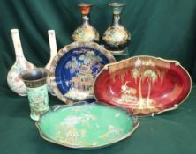 """Carlton Ware """"Bert Royale"""" and """"Rouge Royale"""" oriental inspired hand painted china and two hand"""