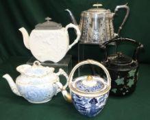Davenport teapot with blue white & gilt decoration, Albion Pottery teapot with blue, white & gilt