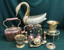 Copper kettle, two copper candlesticks with handles, brass door knob, two brass containers, a
