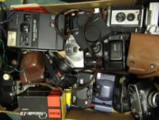 Collection of various cameras including: Pentax Zoom 70S, Ricoh FF9, Canon Sure shot etc