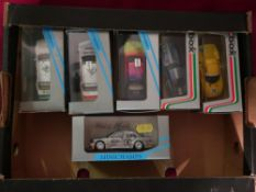 Collection of Minichamps and model box die cast toy cars Ferrari 250Lm1964 Mercedes Evo 2 and BMW M3