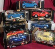 Collection of Bburago diecast model cars including: BMW roadster (1:18scale), Farrari 250GTO 1962 (