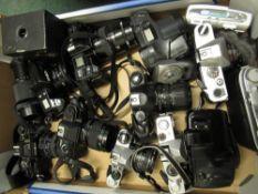 Collection of various cameras including: Minolta X700, Pentax P30N, Pentax ME Super, Minolta 7000