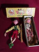 Pelham Puppets Marlborough Wilts standard puppet (boxed), another puppet and a doll