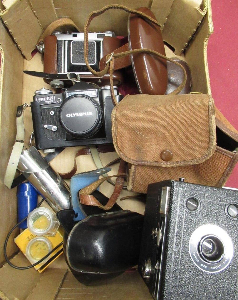 Kodak Retina IIa, Prinzflex 500E camera, Kodak box camera, small tripod, light meter, etc