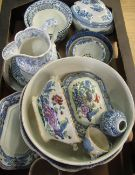 Early C20th Masons Ironstone China tureen cover and stand, Copeland and Spode type blue and white