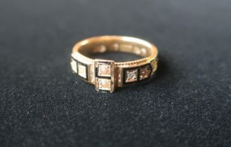 Victorian Hallmarked 15ct gold mourning ring inset with sea pearls and hair stamped 15.625,