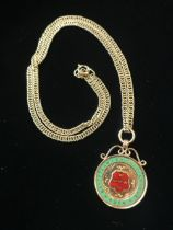 """Hallmarked 9ct gold and enamel fob """"Bassetlaw Cricket League 1914"""" presented by Mr R.H.Allen and"""