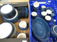 Large Denby blue and white dinner and tea service, including tea pot, serving dishes, plates, side