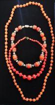 Single string of graduated red malachite beads L39cm, single string carnelian bead necklace L78cm