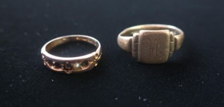 Hallmarked 9ct gold signet ring stamped 375 Size O and a another 9ct gold ring set with sea pearl