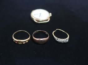 18ct gold half hoop eternity ring (AF missing most stones), 18ct gold three stone diamond ring (AF